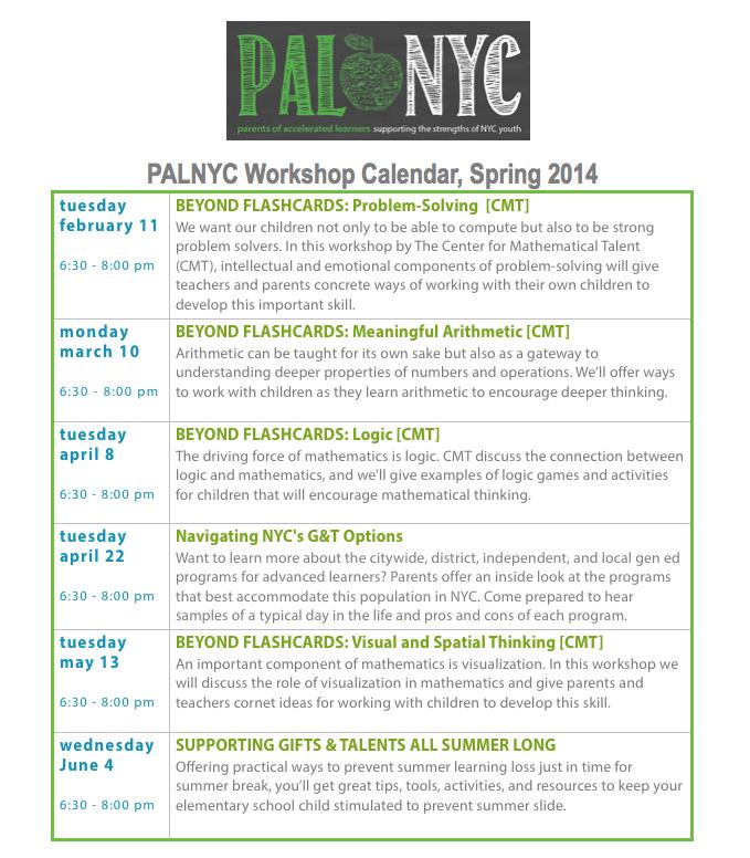 PALNYC_SPRING 2014 SCHEDULE